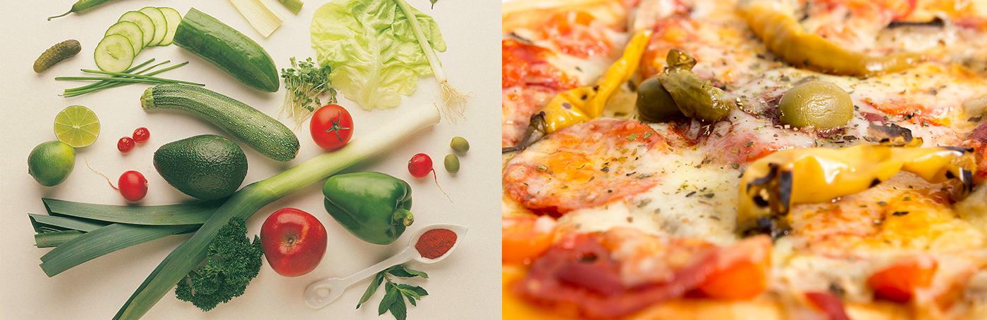 時代屋のサラダとピザ